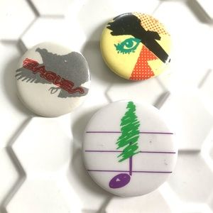 Vintage 1980's Eagles band music pin buttons set